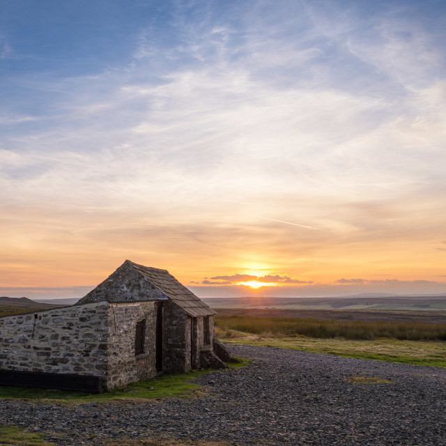 """""""Sunset on Gilmonby Moor, County Durham"""" stock image"""