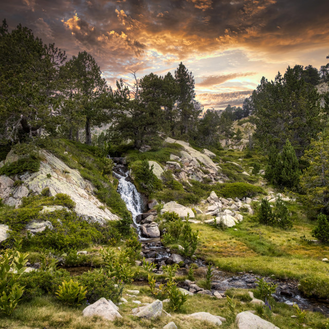 """""""Sunset summer landscape with a small creek in La Cerdanya of Pyrenees mountain, Catalonia, Spain."""" stock image"""