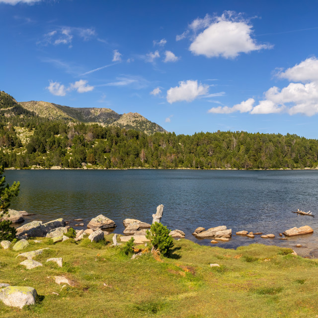 """Summer landscape, lake Malniu in La Cerdanya, Pyrenees mountain, Catalonia, Spain."" stock image"