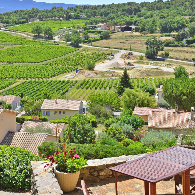 """""""table in a terrace with view on vineyard field on hills in Vaucluse in France"""" stock image"""