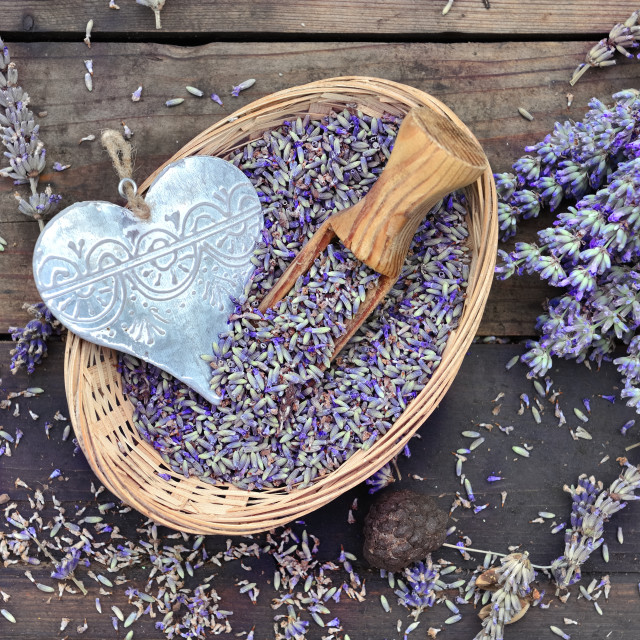 """""""decorative metal heart in a little basket full of of lavender on wooden table"""" stock image"""
