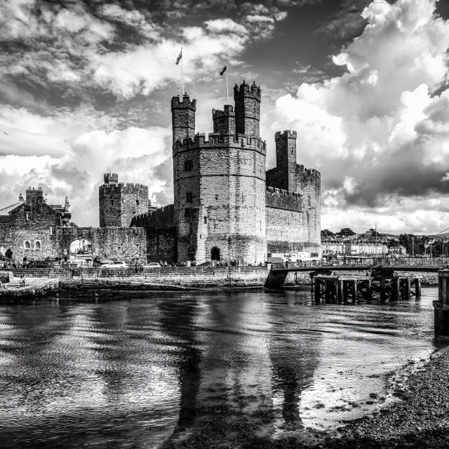 """""""Caernarfon Castle, Caernarfon, Gwynedd, north-west Wales, UK."""" stock image"""