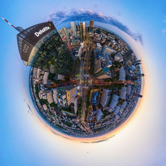 """ttle planet panorama of Warsaw skyscraper Q22 designed by APA Kurylowicz & Associates"" stock image"