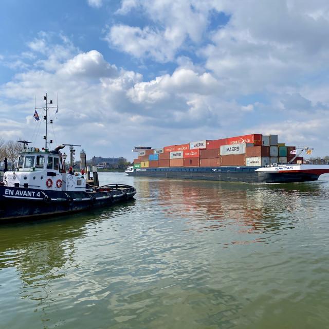 """Inland shipping transport sailing pass Dordrecht 3."" stock image"