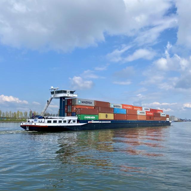 """Inland shipping transport sailing pass Dordrecht 1."" stock image"