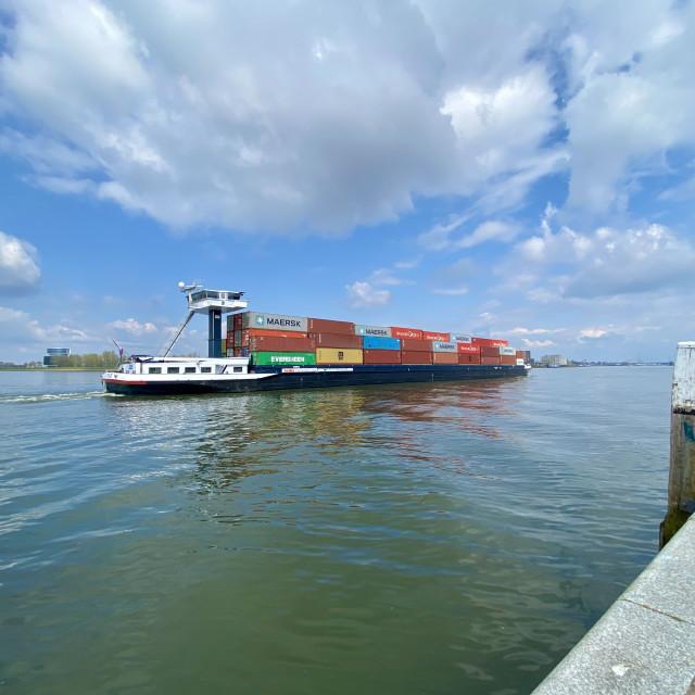 """Inland shipping transport sailing pass Dordrecht 4."" stock image"