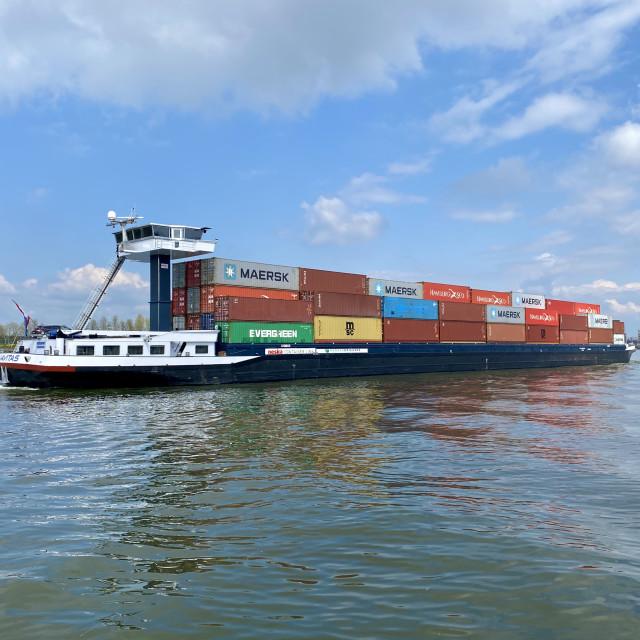 """Inland shipping transport sailing pass Dordrecht 5."" stock image"