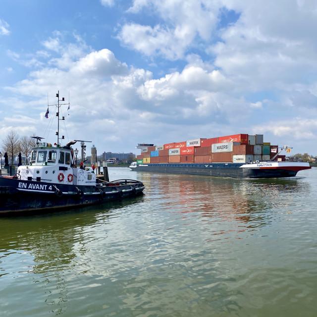 """Inland shipping transport sailing pass Dordrecht 2."" stock image"