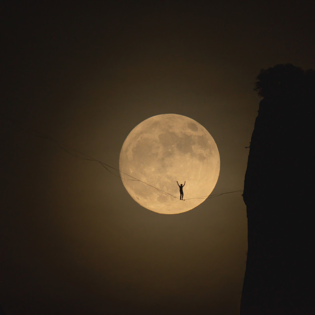 """""""A man on the moon 2"""" stock image"""