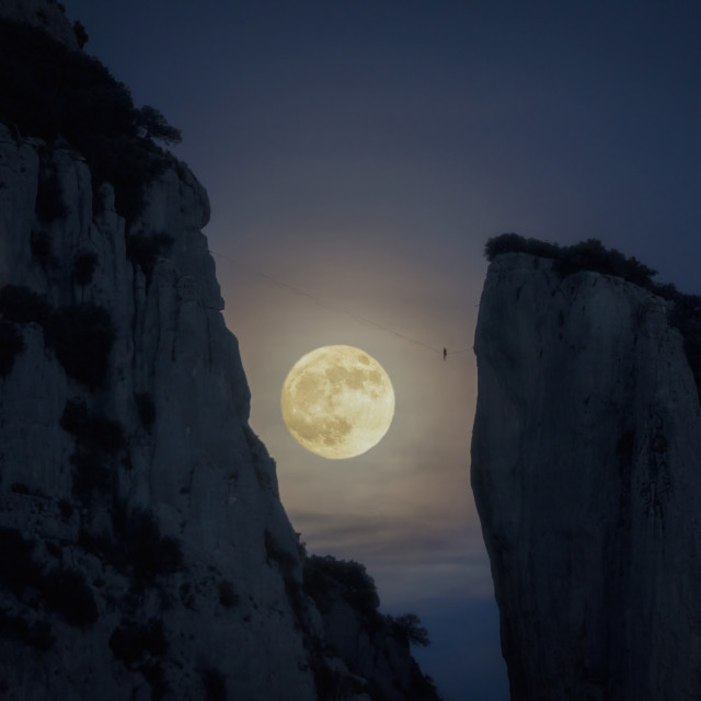 """""""The man and the moon"""" stock image"""