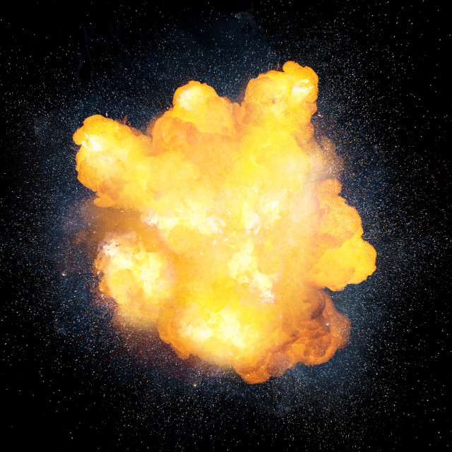 """""""Realistic fiery bomb explosion with sparks isolated on black background"""" stock image"""