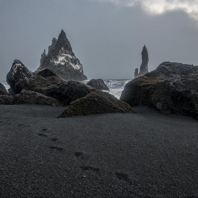"""Reynisdrangar on Reynisfjara Beach"" stock image"