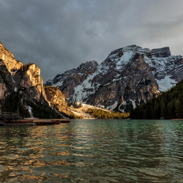 """Braies Lake-Dolomiti"" stock image"