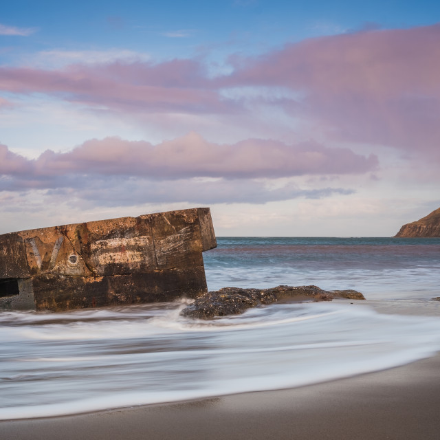 """""""Golden Hour pillboxes at Cayton Bay"""" stock image"""
