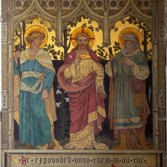 """""""Mural painting Road to Emmaus by Powell and Sons, 1881, Brettenham church,..."""" stock image"""