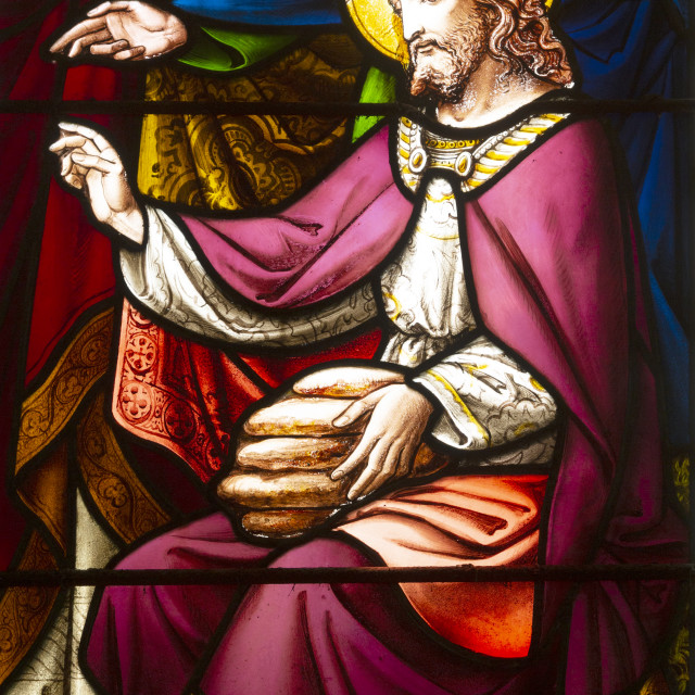 """""""Miracle of Loaves and Fishes stained glass window, 1866 H Hughes, Brettenham..."""" stock image"""