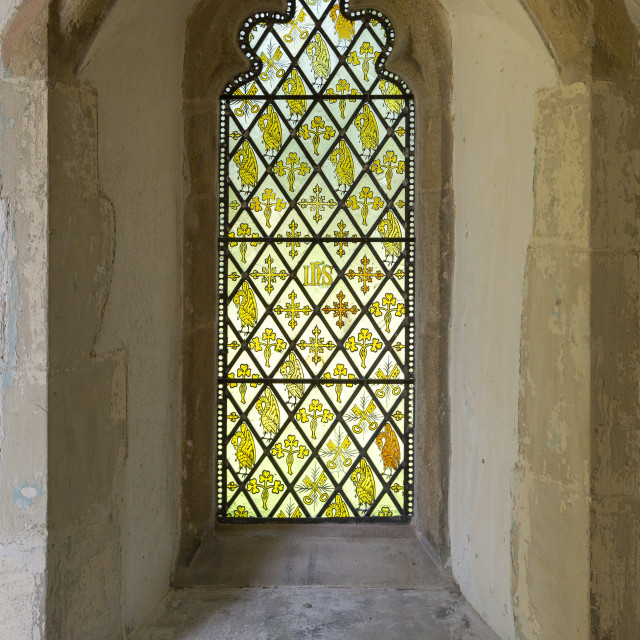 """""""Grisaille patten stained glass window in church porch, Drinkstone, Suffolk,..."""" stock image"""
