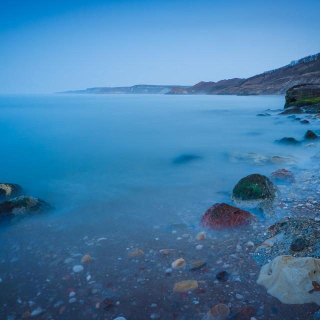 """Blue Hour over Cornelian Bay, North Yorkshire"" stock image"