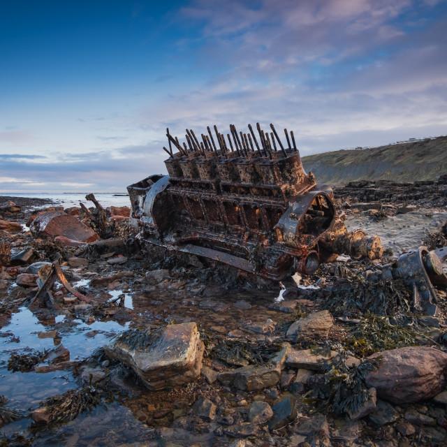 """Unusual ship remains at the hidden bay"" stock image"