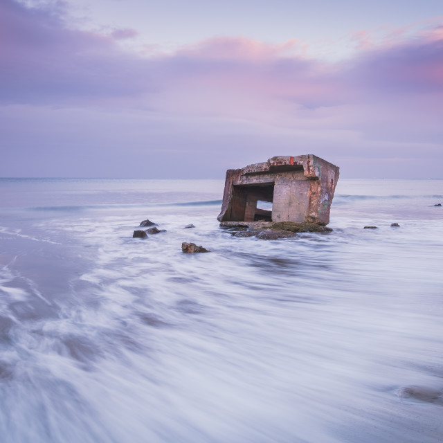 """""""Pink November hues at Cayton Bay, North Yorkshire"""" stock image"""