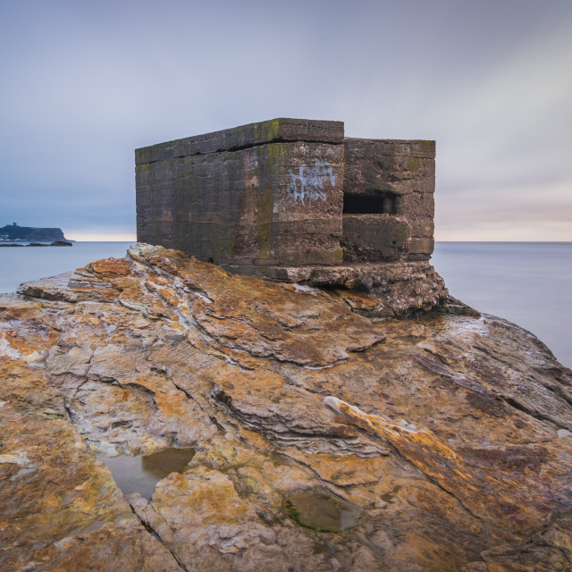 """""""A wet autumnal day at the Cornelian pillbox"""" stock image"""