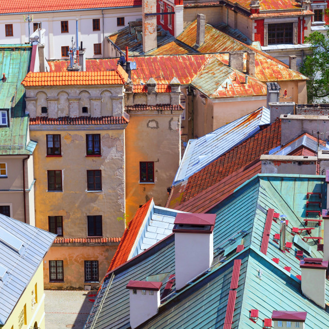 """""""Colorful roofs, old buildings of Lublin"""" stock image"""