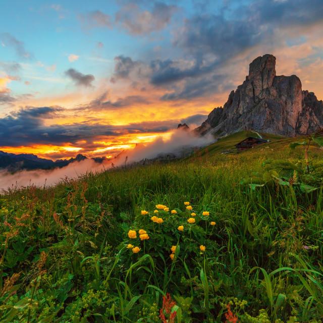 """Giau Pass sunset"" stock image"