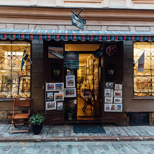 """Art Gallery storefront in Gamla Stan in Stockholm"" stock image"