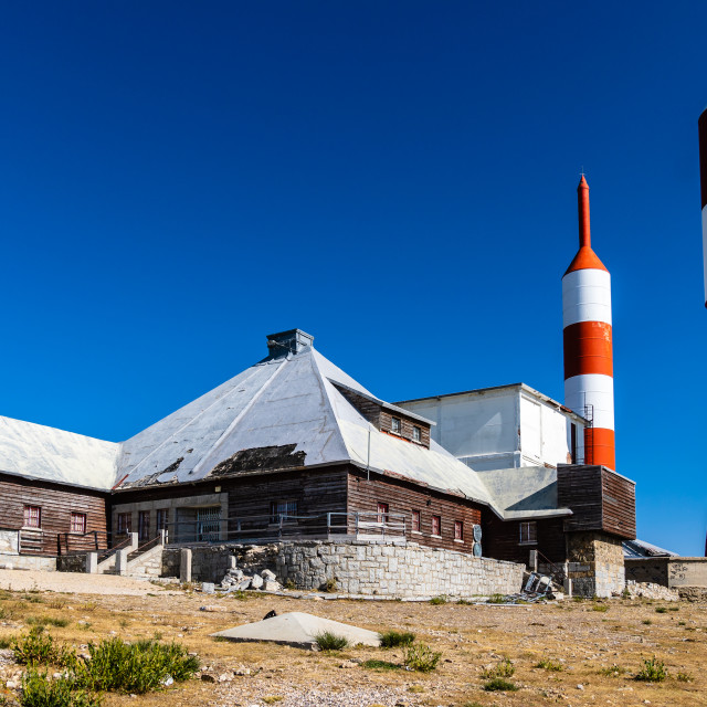 """Transmitting antennas of radio and television in Guarramillas mountain"" stock image"