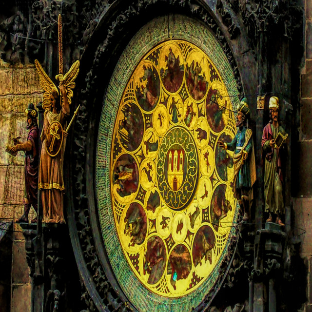 """""""Astronomical Clock Calender Plate"""" stock image"""