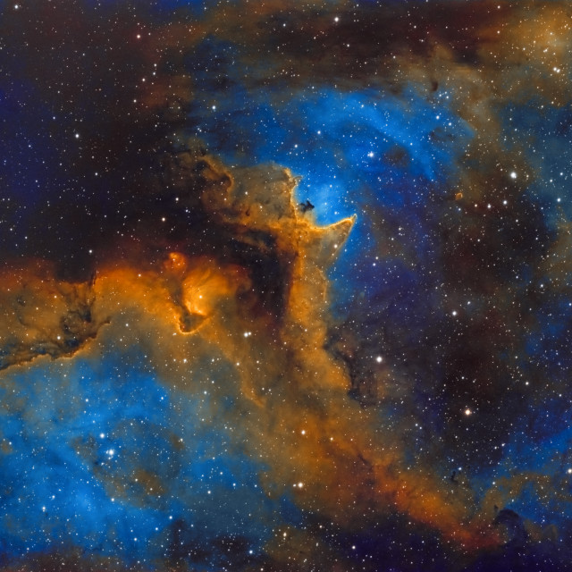 """""""The Soul Nebula (Sh2-199, IC 1848) in the constellation of Cassiopeia, HST image"""" stock image"""