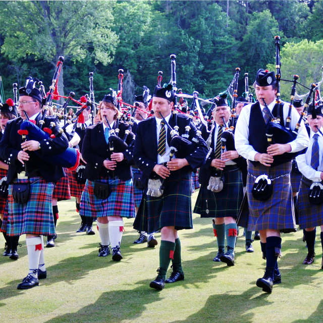 """""""Massed Pipers"""" stock image"""
