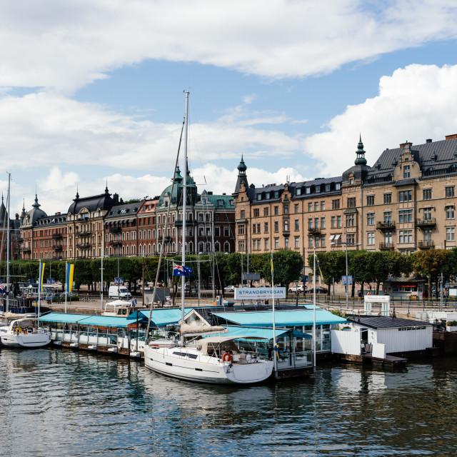 """""""Waterfront of Stockholm at Strandvagen area, Sweden"""" stock image"""