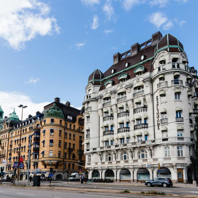 """""""Hotel Esplanade at Strandvagen in Stockholm, Sweden"""" stock image"""