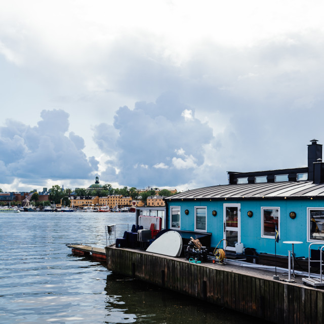 """""""MS Molly boat tours agency in a floating house in Stockholm"""" stock image"""