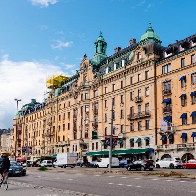"""""""Kvarteret Bodarna in Boulevard Strandvagen in Stockholm"""" stock image"""