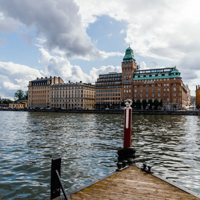 """""""Waterfront of Stockholm with Radisson Collection Hotel"""" stock image"""