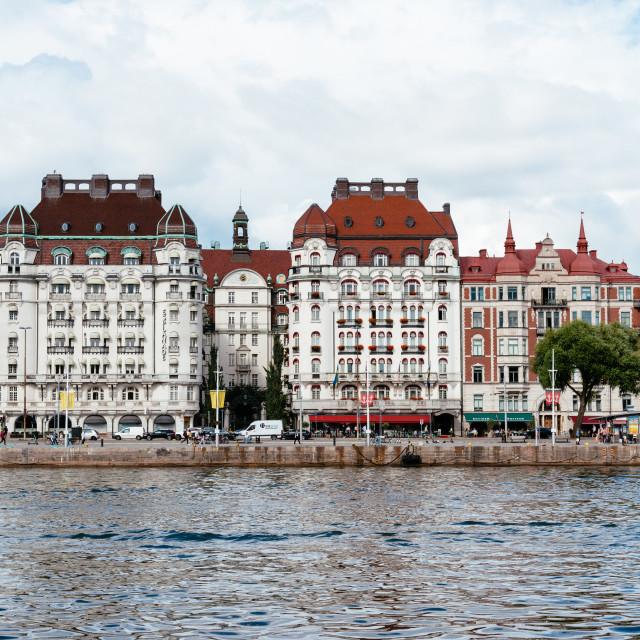 """Waterfront of Stockholm in Boulevard Strandvagen, Sweden"" stock image"