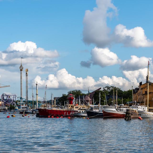 """Waterfront of the island of Skeppsholmen in Stockholm"" stock image"