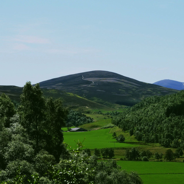 """""""Queens View, Tomintoul"""" stock image"""