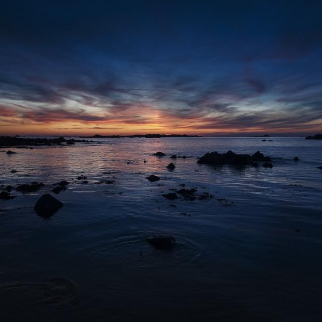 """Sun setting over Burhou"" stock image"