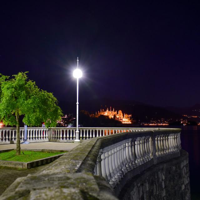 """""""Lamplight on Lake Maggiore"""" stock image"""