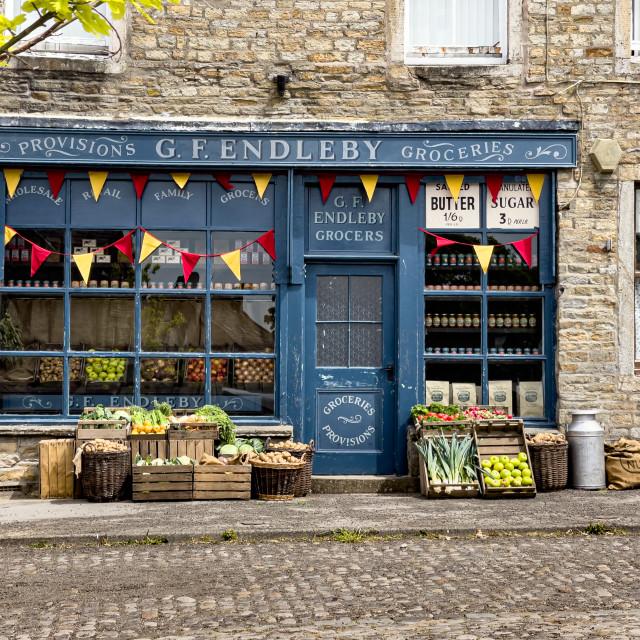 """Grassington, Yorkshire Dales. Grocery Shop"" stock image"