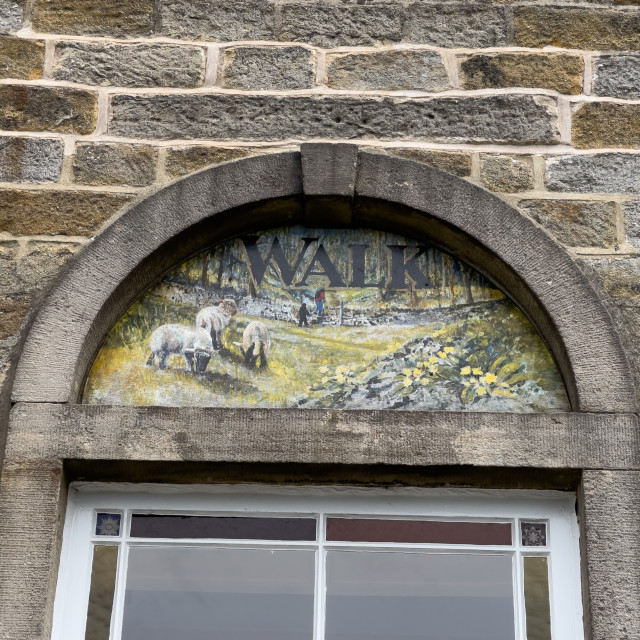 """""""Grassington Methodist Church, Yorkshire Dales, Arched Window Sign."""" stock image"""