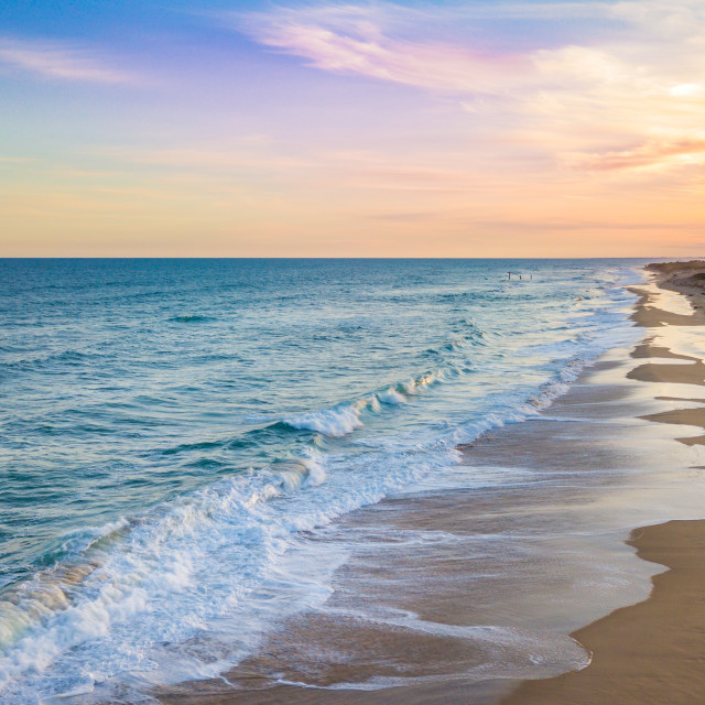 """""""Sunset Over The Surf"""" stock image"""