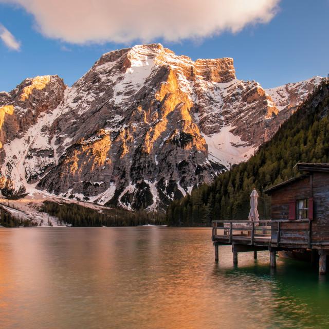 """""""Braies Lake"""" stock image"""