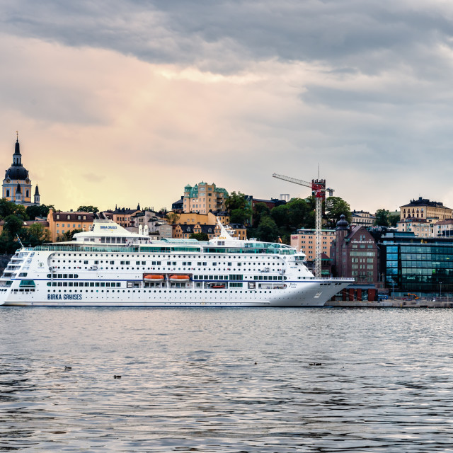 """""""Tourist cruise ship moored at the pier in Stockholm"""" stock image"""