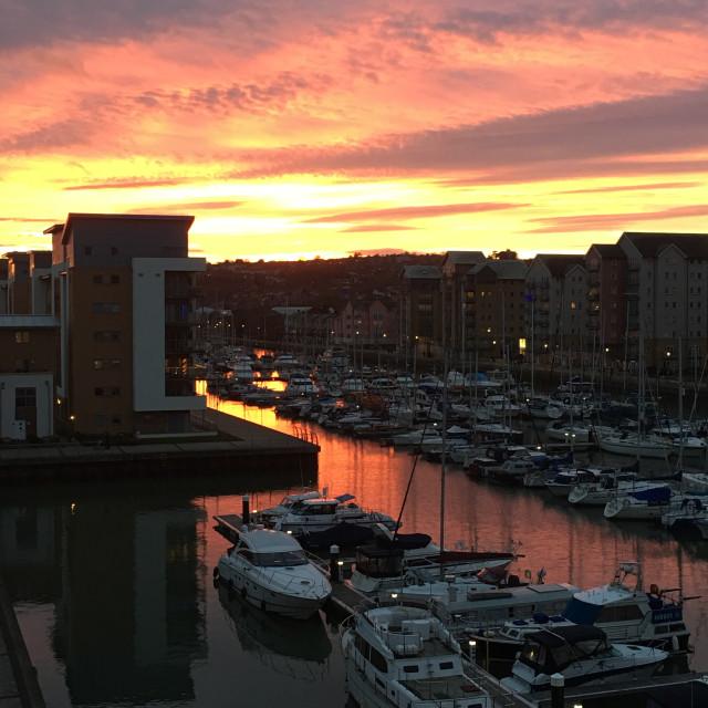 """""""Sunset Over Marina"""" stock image"""