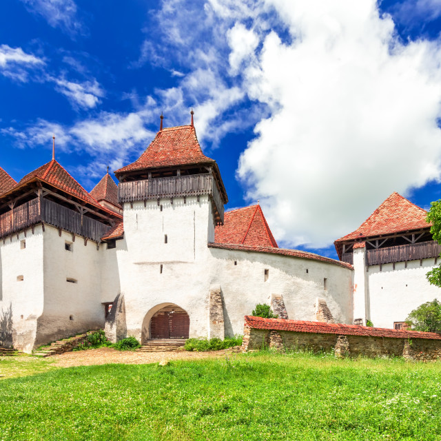 """Viscri, Romania - Saxon medieval church in Transylvania, world heritage"" stock image"