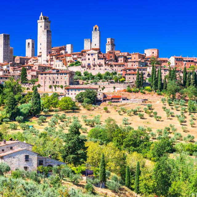 """San Gimignano famous medieval town, Tuscany - Italy"" stock image"
